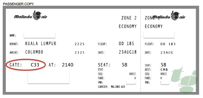 前日にメールで届いたチケットにはC33ゲートと記載されていたが・・。