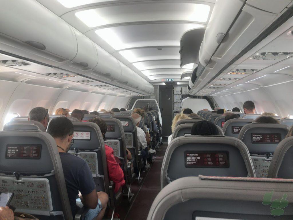 ボロテア航空A319の機内