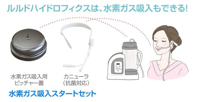 ルルドハイドロフィクスは、オプションの「水素ガス吸入スタートセット」を使えば水素ガス吸入もできる!