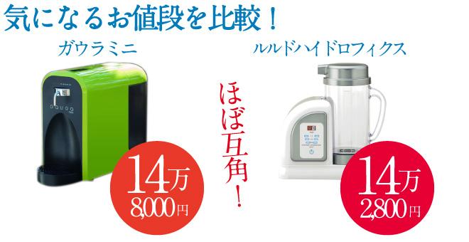 「ガウラミニ」の価格は148000円、「ルルドハイドロフィクス」は142000円とほぼ互角